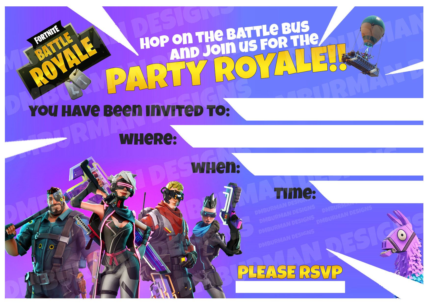 fortnite birthday party invitation hd printable kids party gaming