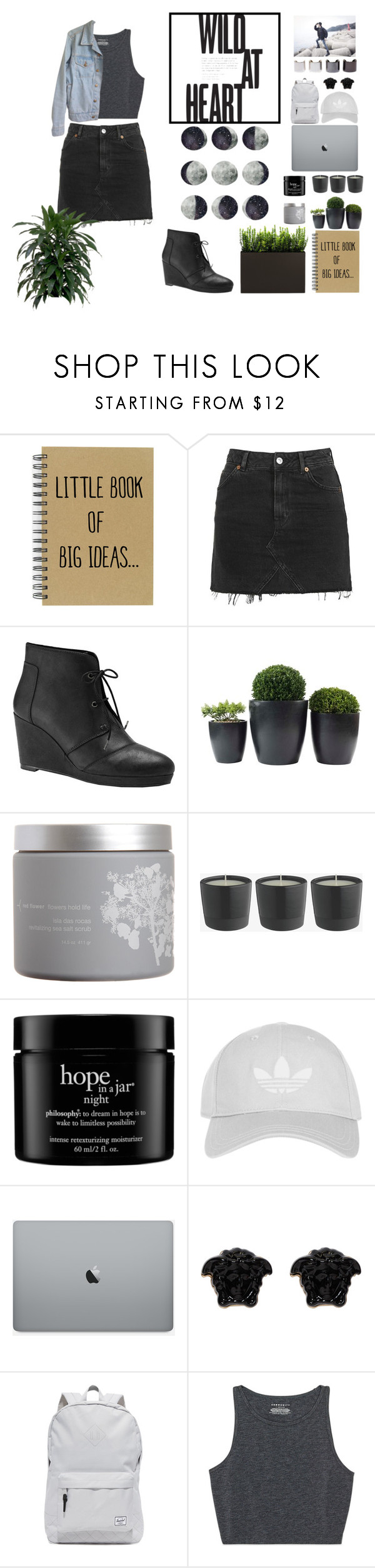 """""""Tears On The Ground"""" by hyunn-a ❤ liked on Polyvore featuring Topshop, Blondo, red flower, philosophy, Versace, Herschel Supply Co., American Apparel and Luv Aj"""