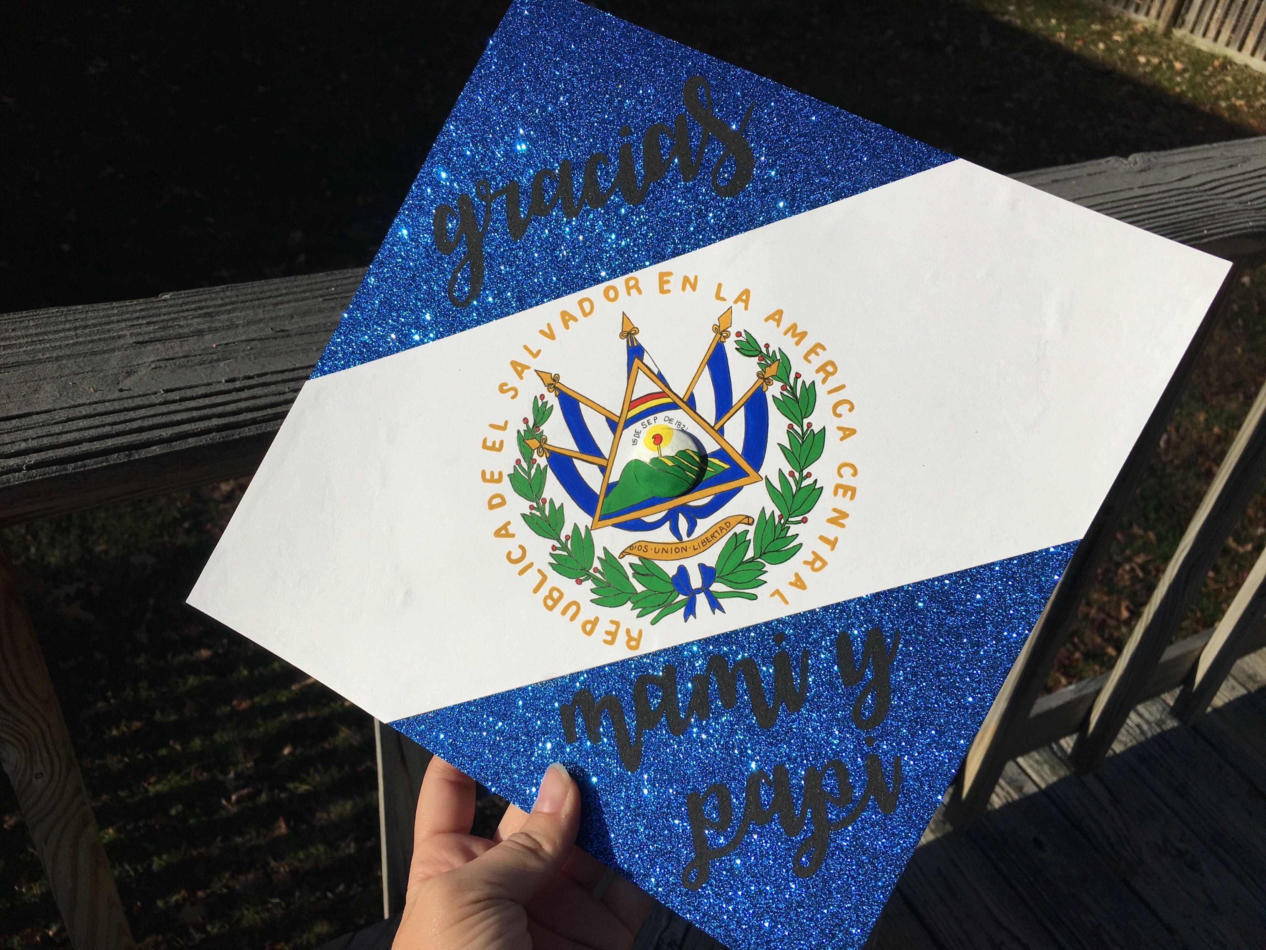 Gracias Mami Y Papi El Salvador Flag Painted Graduation