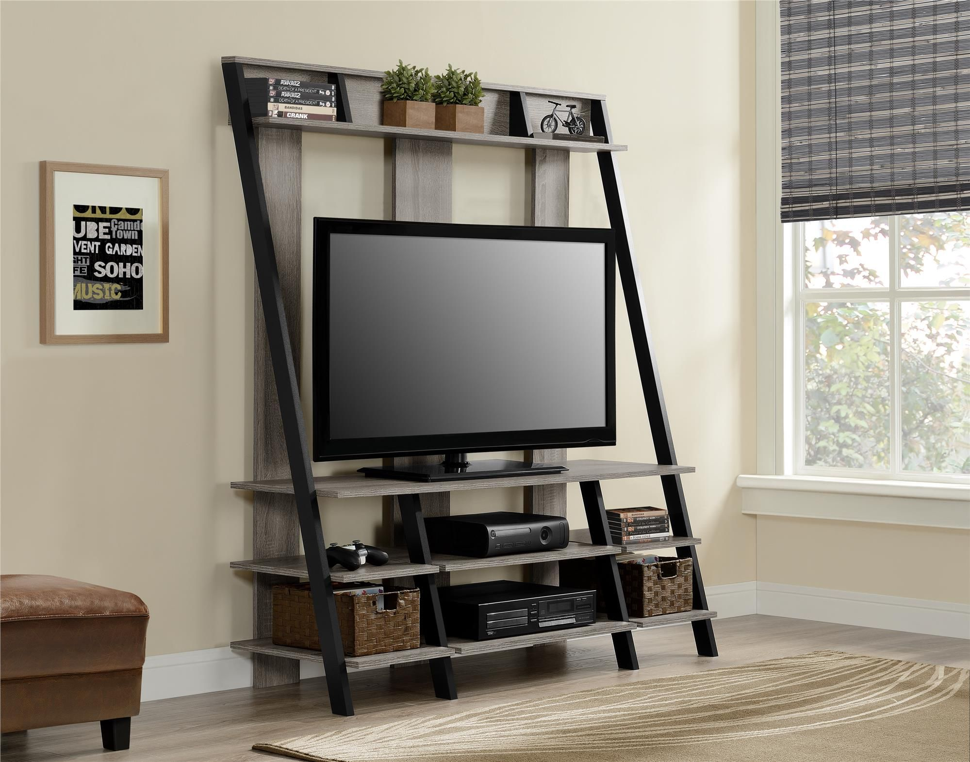 Dorel Home Furnishings Ladder Style Sonoma Oak Home Entertainment Center, Beige & Tan