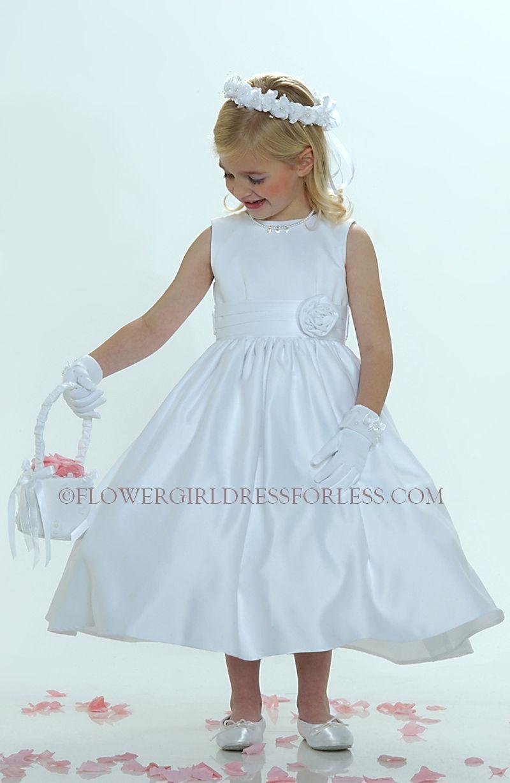 Flower Girl Dress Style 5036- White Sleeveless All Satin Dress With ...