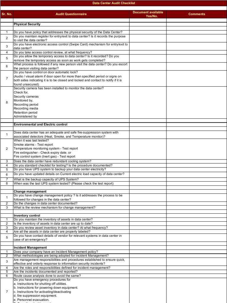 Data Center Checklist Templates Templates 30740 Resume Examples