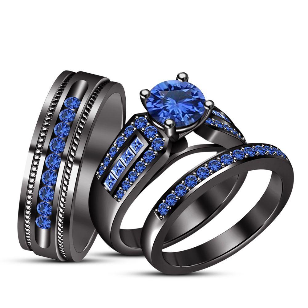 Blue Sapphire Black Gold Finish 925 Silver Wedding Band Engagement Ring Trio Set Black Gold Jewelry Silver Wedding Bands Trio Ring