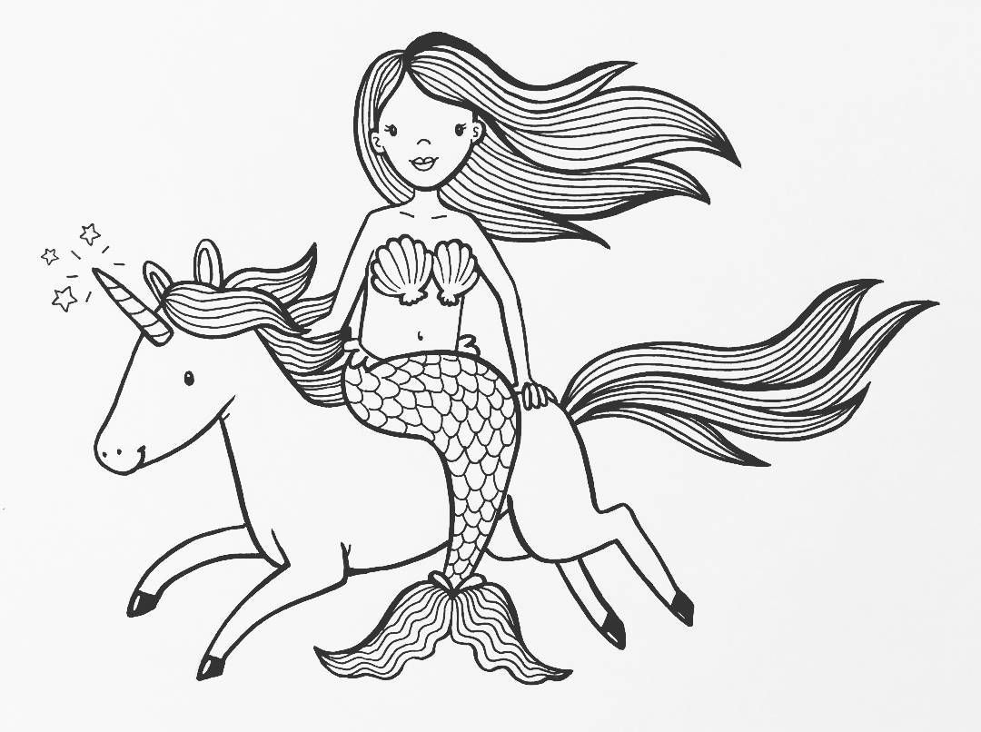 Inktober Day 3 A Mermaid Riding A Unicorn Side Saddle Of Course Why Not Illustration Il Mermaid Coloring Pages Mermaid Coloring Unicorn Coloring Pages