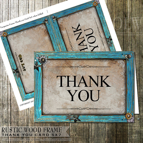 Rustic Thank You Card Turquoise Frame And Star Embellishments