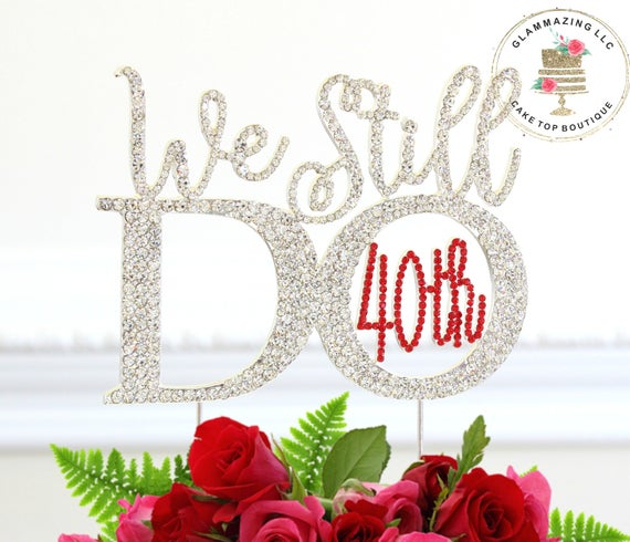 Number 40 OR 30 OR 50 Rhinestone Cake Topper Wedding Vow