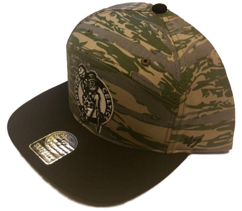 61e6e3e060cbf Boston Celtics 47 Brand 5 Panel Green Camo Adjustable Snapback Hat Cap Nba  Shirts