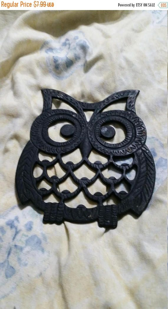 On Sale Black Owl Cast Iron Collectible Trivet I Wall Black Owl Vintage Cast Iron