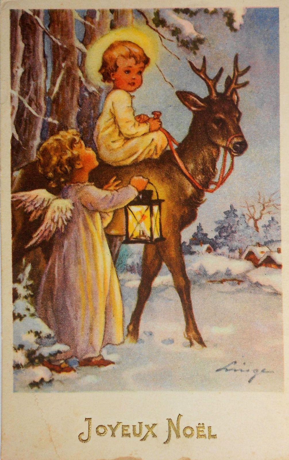 Lingen Sign 2 Engel Mit Laterne Auf Hirsch 1953 Ebay