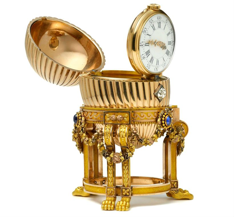 the pantry of ludiko faberg imperial easter eggs third imperial egg presented by tsar alexander iii to maria feodorovna in the jewelled and ridged yellow gold egg stands on negle Gallery