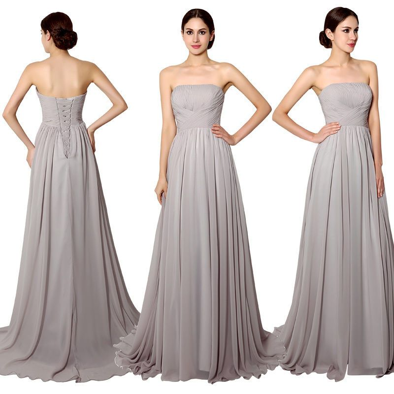 Ruched Grey Long Wedding Bridesmaid Formal Dresses Party Evening Gowns Plus  Size in Clothes  ShoesRuched Grey Long Wedding Bridesmaid Formal Dresses Party Evening  . Ebay Cheap Wedding Dresses. Home Design Ideas