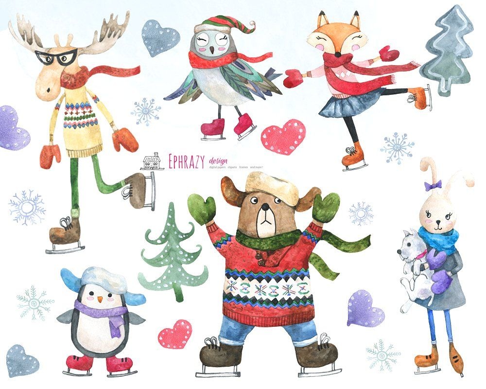 Woodland animals clipart. Christmas cardswedding