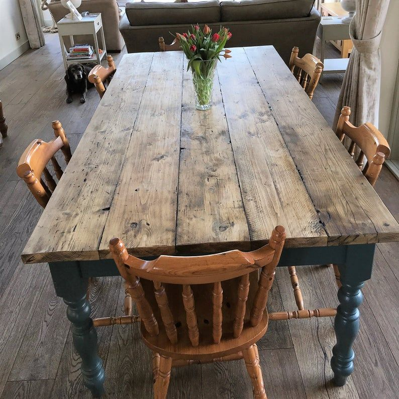 Extra Wide Rustic Reclaimed Farmhouse Dining Table