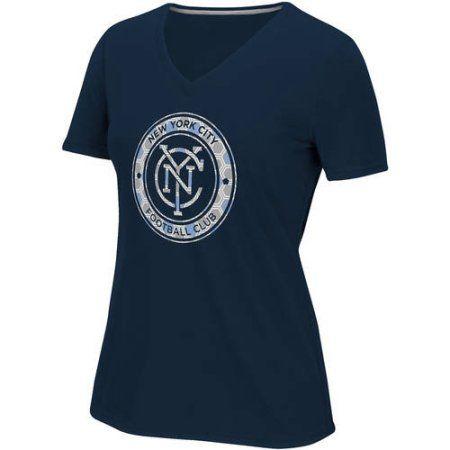 MLS-New York City FC-Women's Raised Net Tee, Size: Large, Blue