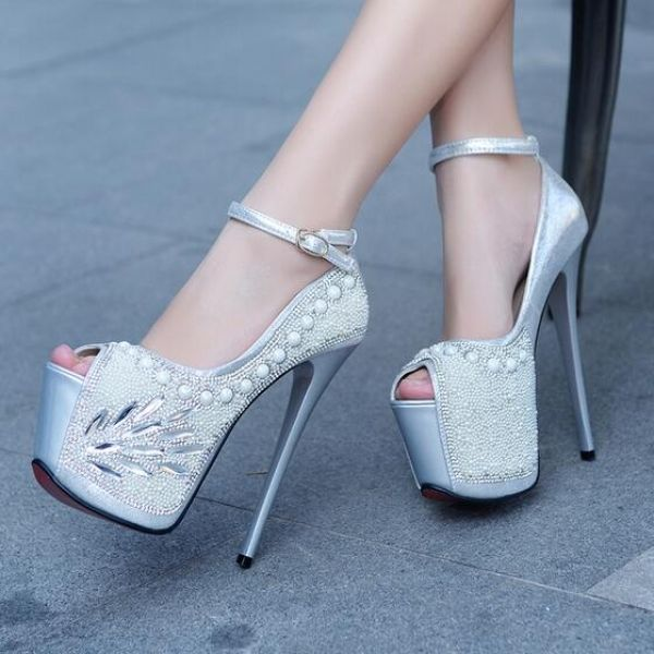 Sweet Rhinestone Platforms Peep-Toe Thin Heels Pumps Gold/Silver ...