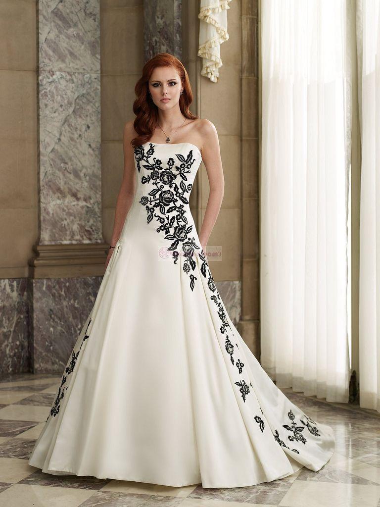 A Line Strapless Lace Satin Long White Wedding Dress Black White Wedding Dress Used Wedding Dresses Black Wedding Dresses [ 1024 x 768 Pixel ]