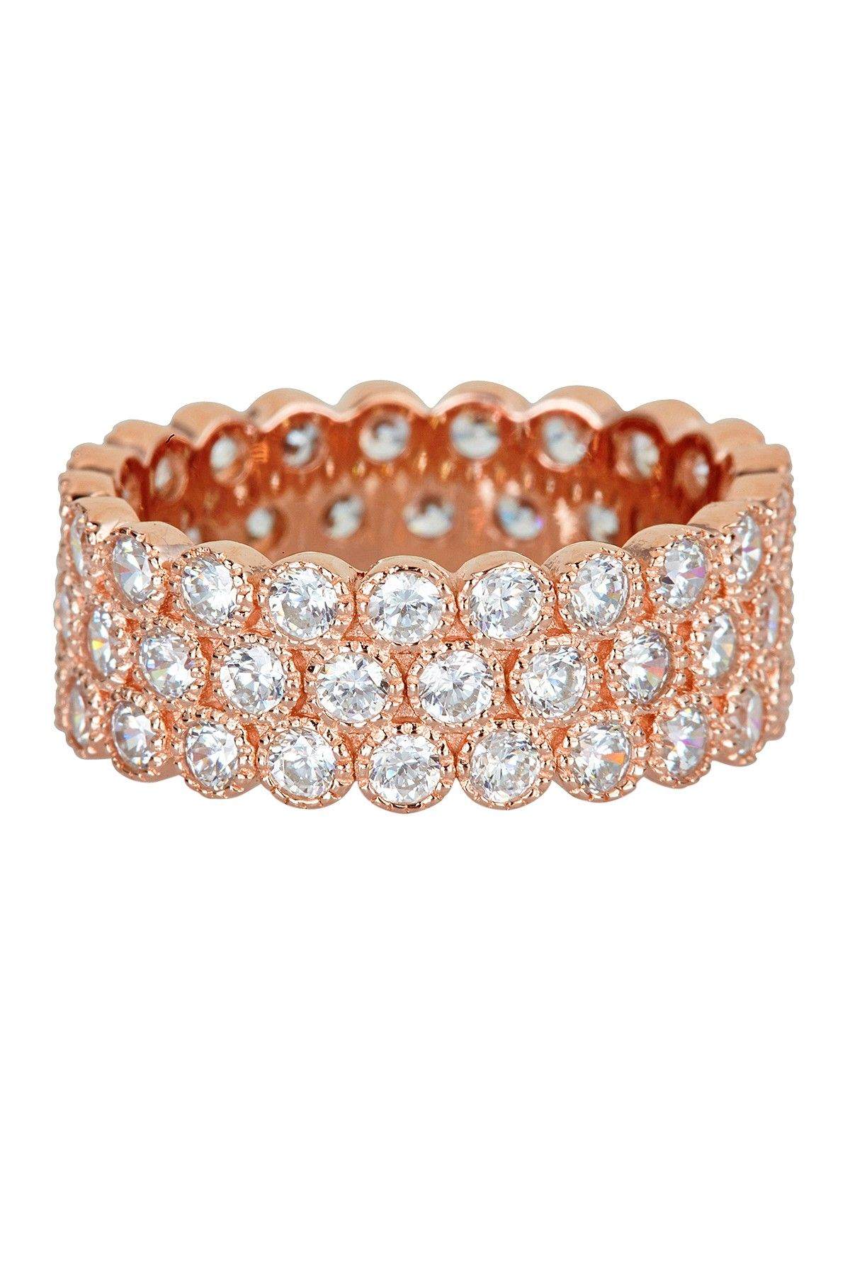 18K Rose Gold Vermeil Micro Pave CZ Triple Row Bubble Eternity Ring by Luna Tagliare on @HauteLook