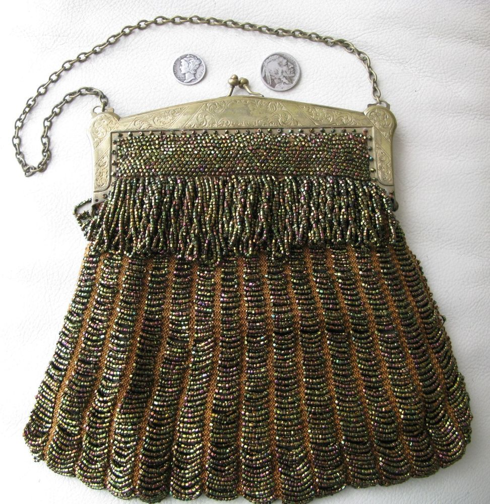 Antique Art Deco Gold Pierced Floral Frame Tan Knit Copper Peacock Bead Purse Vintage Accessories Periods & Styles