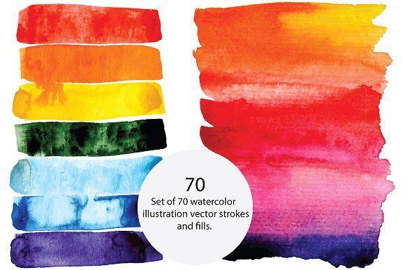 Vector Watercolor Brush Strokes Watercolor Illustration Graphic