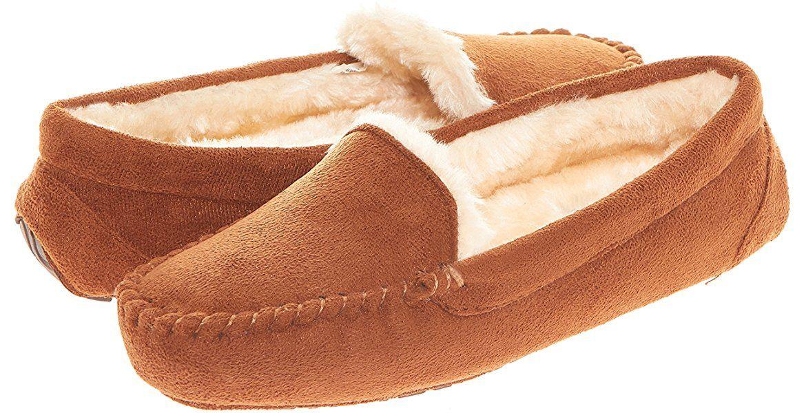 Floopi Chestnut Sherpa Lined Moccasin Slipper