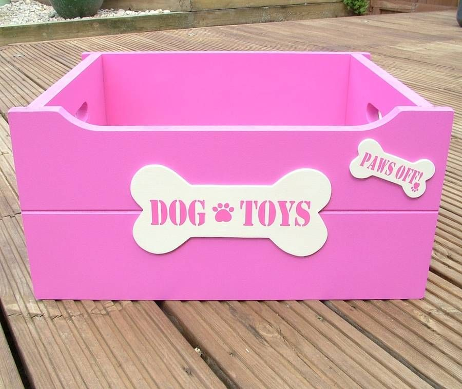 Pink And Cream Painted Bone Handle Dog Toy Box Dog Toys Doggy