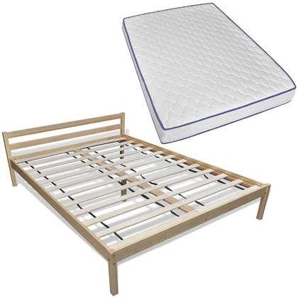 Vidaxl Bed Met Matras Massief Grenenhout 140x200 Cm Rustiek Bed