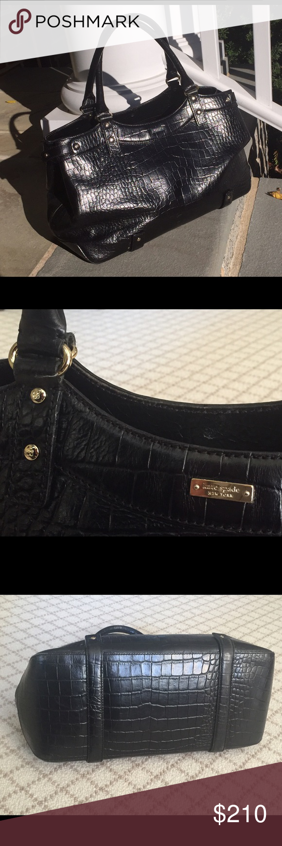 Kate Spade Croc Embossed Leather Black Handbag Authentic Fits All Your Essentials And