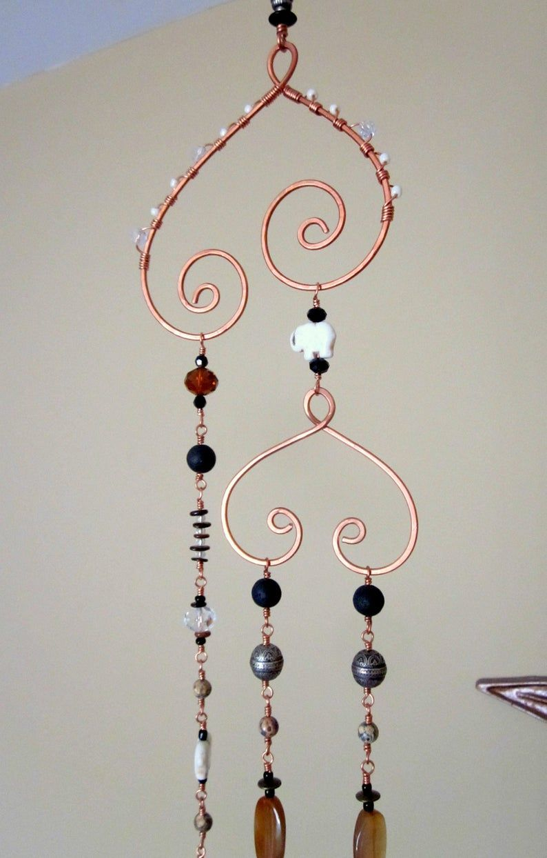 Photo of Beaded Windchime Glass and Copper Wire Earthy Sun Catcher