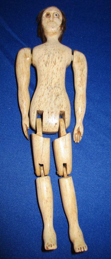 Antique Handcrafted Carved Art Scrimshaw Bone Doll Antique Folk Art Scrimshaw Folk Art Dolls
