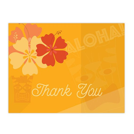 Beach Theme Card Stock: Luau Tiki Hawaiian Theme Thank You Cards, Set Of 20
