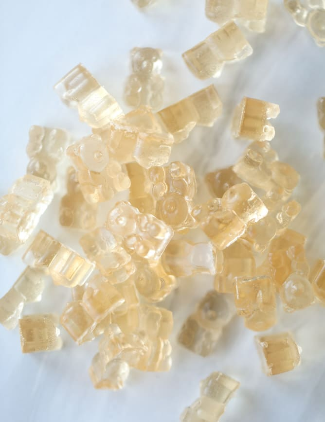 Champagne Gummy Bears Recipe Rose Champagne Gummy Bears Recipe In 2020 Champagne Gummy Bears Bear Recipes Gummy Bears