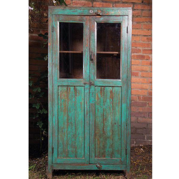 Gabinete en madera 2 puertas y vidrios by sarria home for Puerta de madera doble estilo antiguo