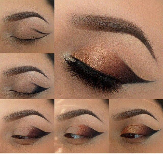 Photo of Tutorial von rauchigen geflügelten Augen in Bronzefarbe, rauchiges Auge