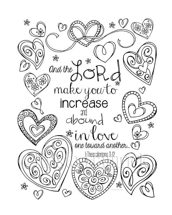 Increase and Abound in Love coloring page in two sizes: 8 ...