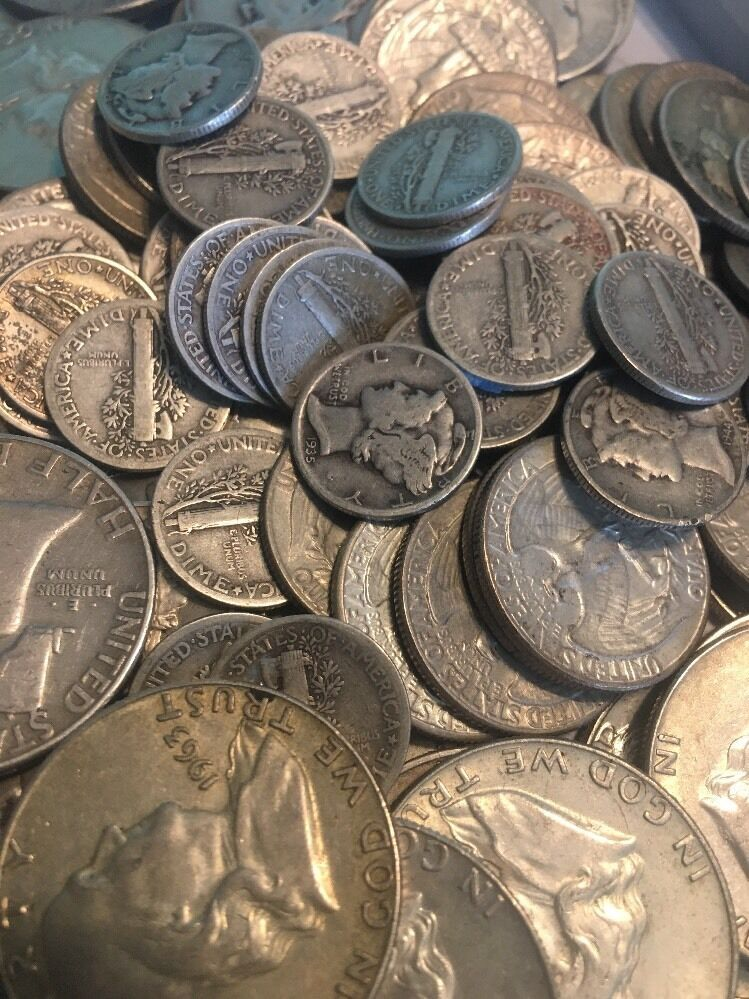 Quarters or Dimes Coin Lot Half Dollars $1 Face Value 90/% Junk Silver U.S