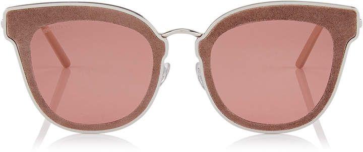 a88dba545d81 Jimmy Choo NILE Palladium Metal Cat-Eye Sunglasses with Nude Leather  Detailing