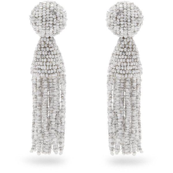 Oscar De La Renta Bead-embellished tassel-drop clip-on earrings 40Axus