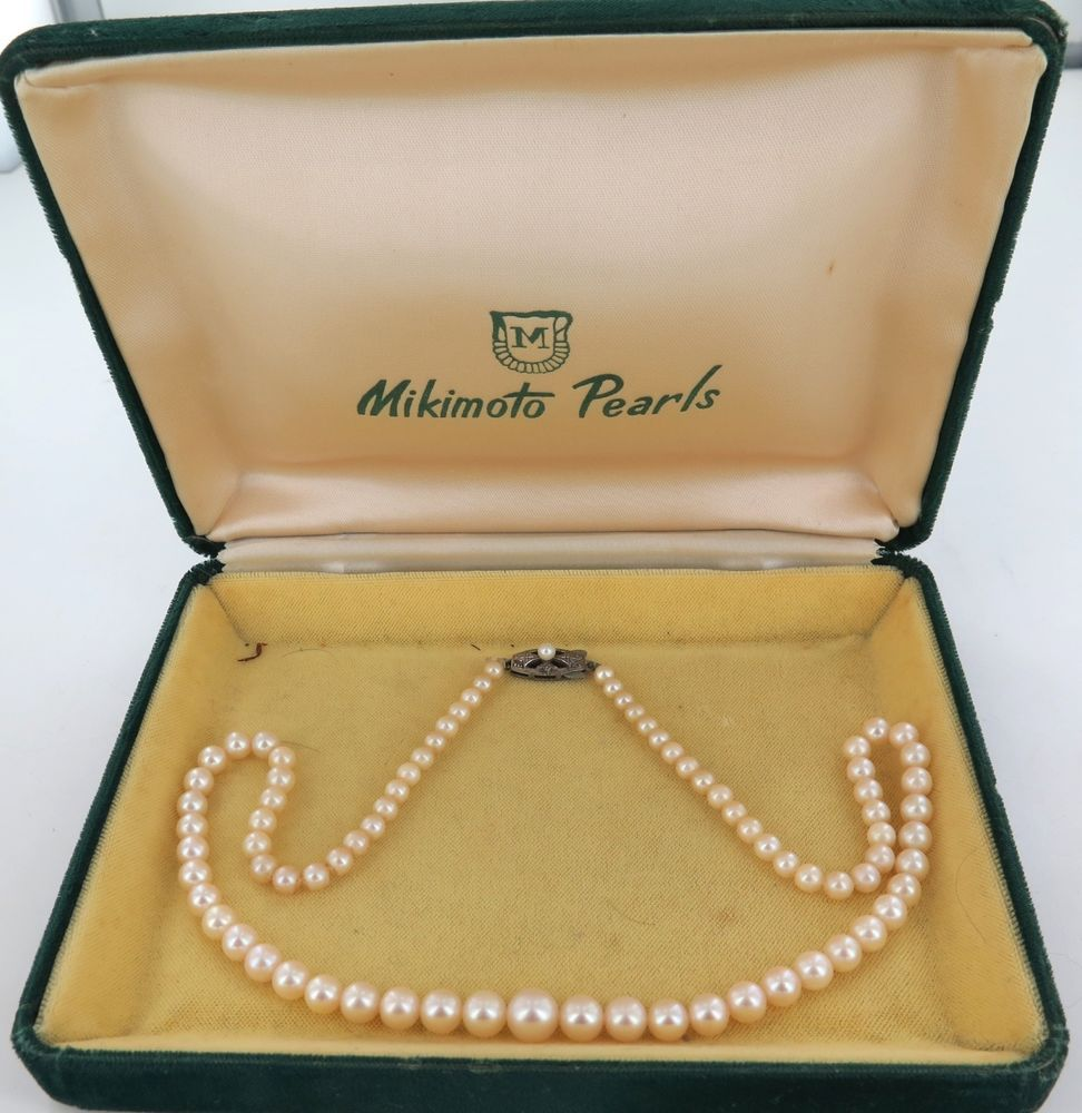 Vintage Mikimoto Akoya Graduated Pearl Necklace In Original Case 1950's  60's