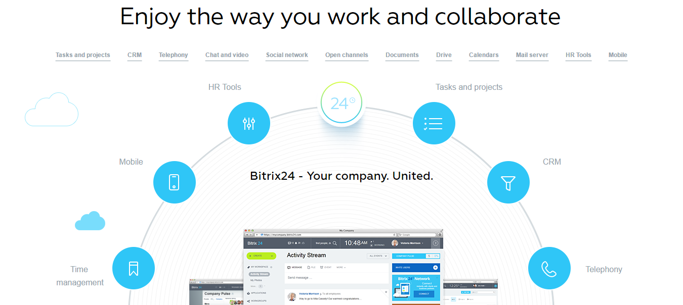 Bitrix24 is a free (for small businesses) social