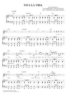 Alternative Sheet Music Viva La Vida Coldplay Sheet Music