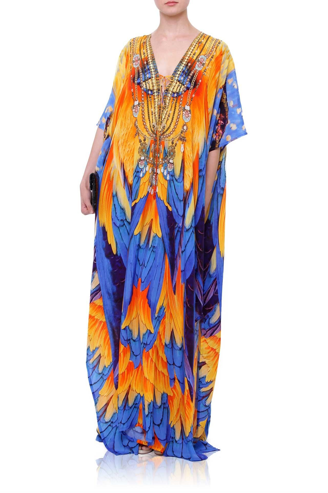 Luxury v neck long kaftan dress in bird print kaftan dresses and