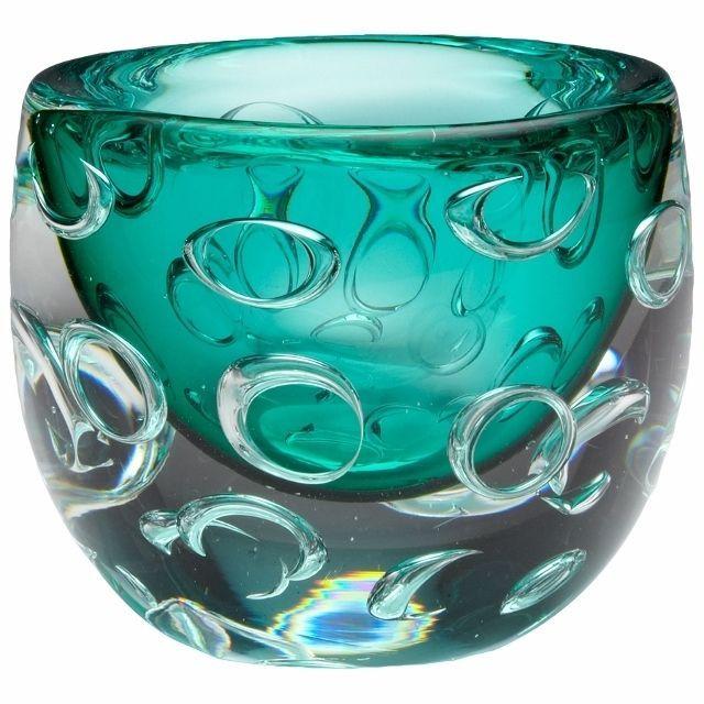 Round Turquoise Art Glass Vase