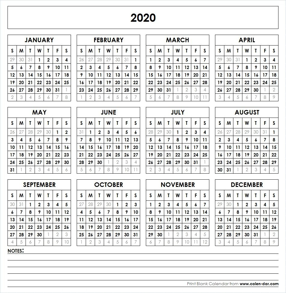 Blank Template For Printable Calendar 2020 With Notes Printable Yearly Calendar Yearly Calendar Template Calendar 2019 Printable