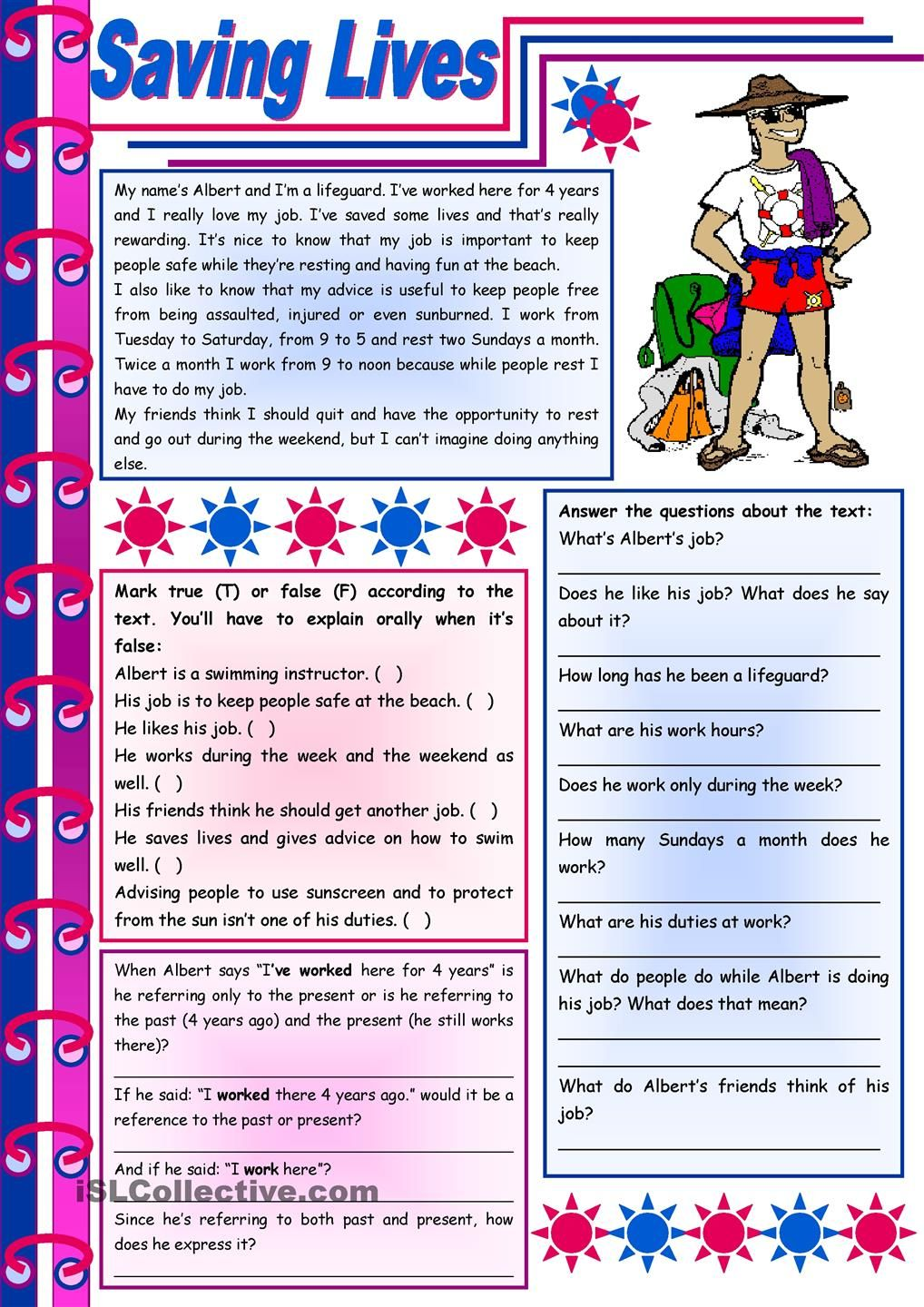 Workbooks year 8 english worksheets comprehension : Saving lives – reading comprehension + grammar (present perfect ...