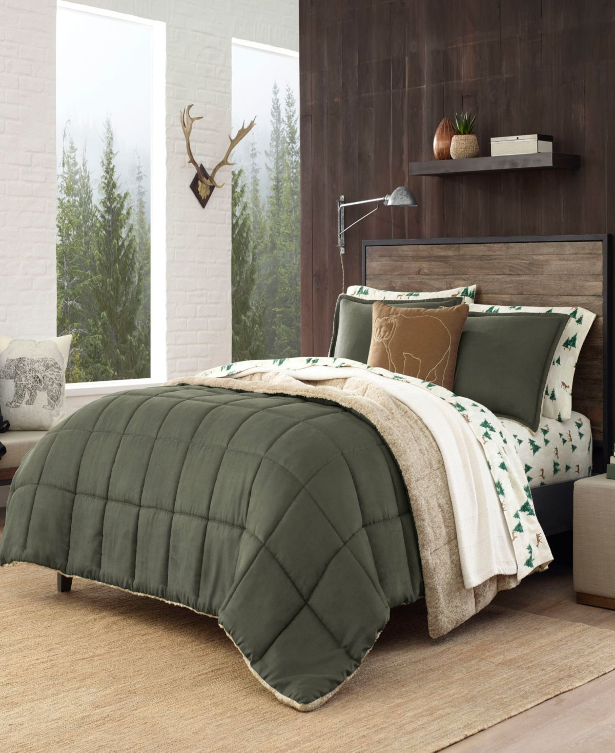 Eddie Bauer Sherwood Dark Green Comforter Set Twin Reviews Comforters Fashion Bed Bath Macy S In 2020 Green Comforter Green Comforter Sets Comforter Sets