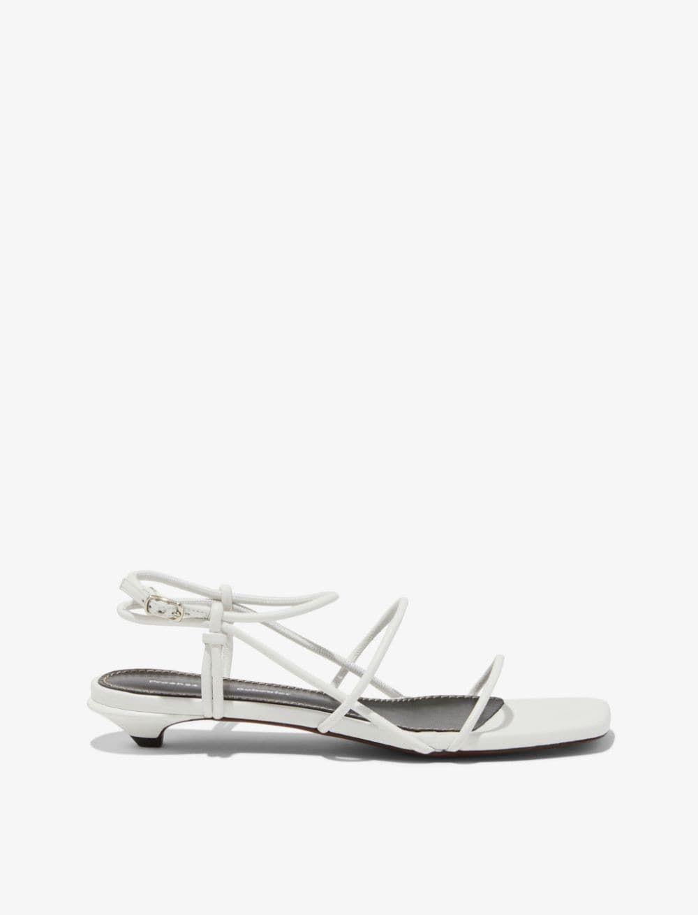 Proenza Schouler Strappy Low Kitten Heel Sandals White 41 Whitekittens Kitten Heel Sandals Sandals Heels White Sandals Heels