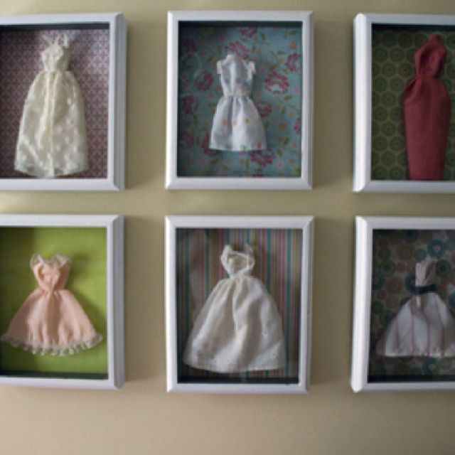 Vintage Barbie Dresses In Frames Barbie Room Sewing