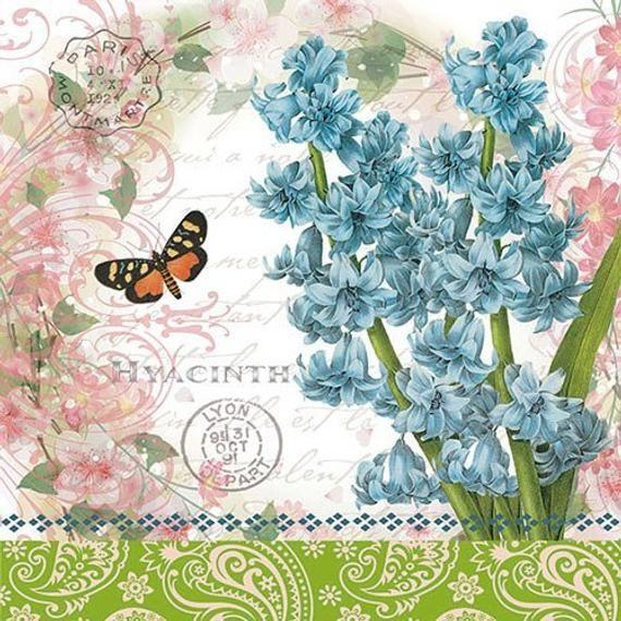 Hyacinth 4 Individual Napkins For Decoupage Napkin Art