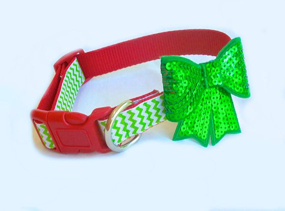 Christmas Dog Collar in Green Chevron and Sequin by MuttsnBones