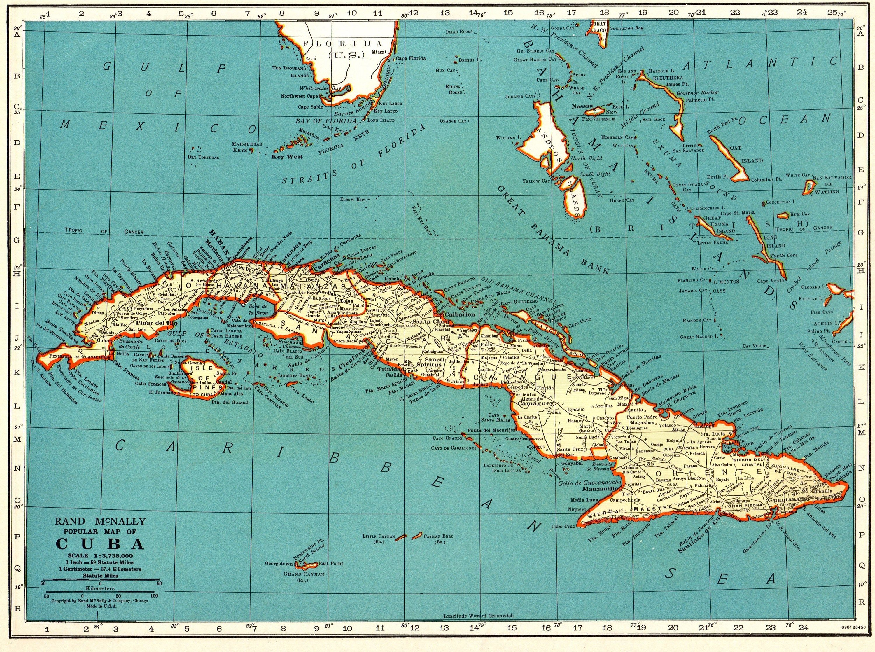 1937 antique cuba map vintage map of cuba gift gallery